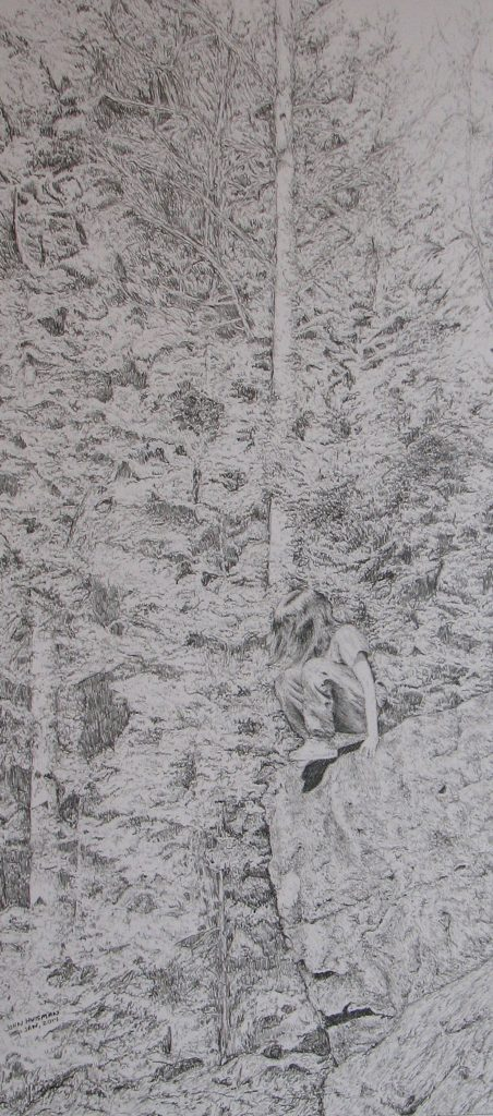 Adventure, The Leap, 10 x 22, pencil drawing