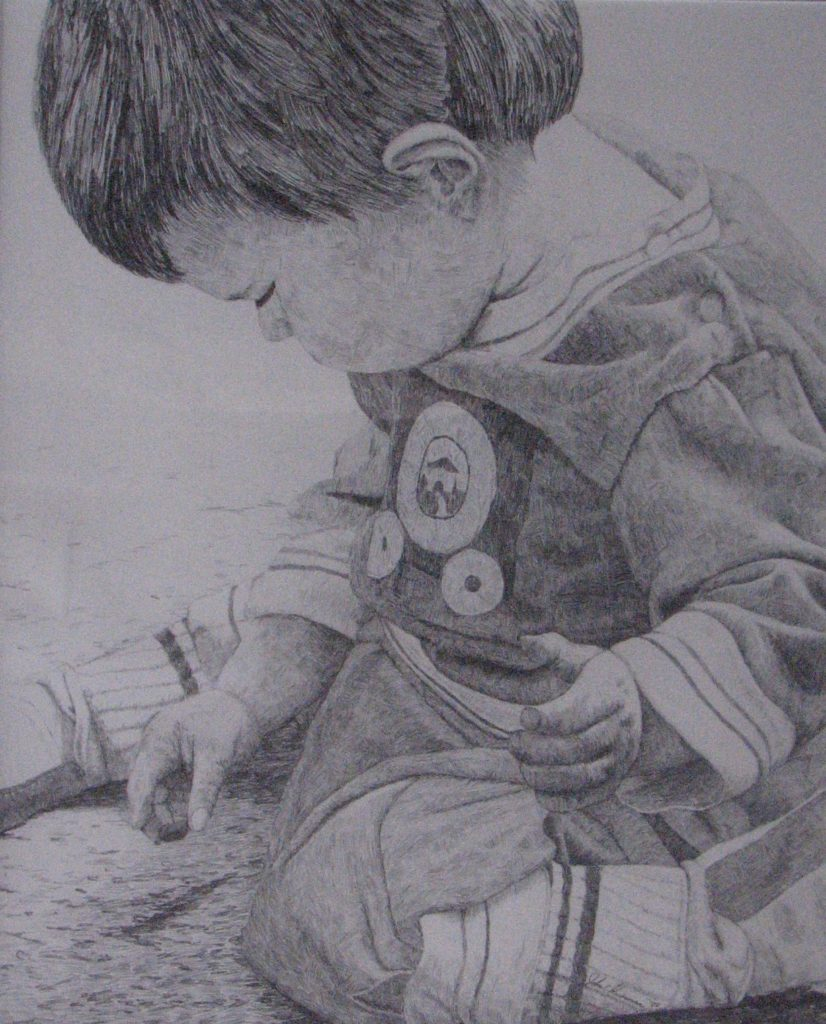 """Child Wondering"", pencil drawing on paper"