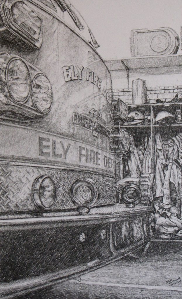 Fire Truck pencil drawing 18x11