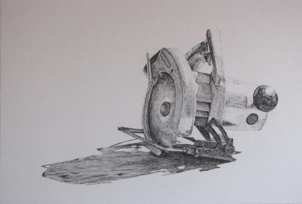 Granpa's saw, pencil drawing, John Huisman