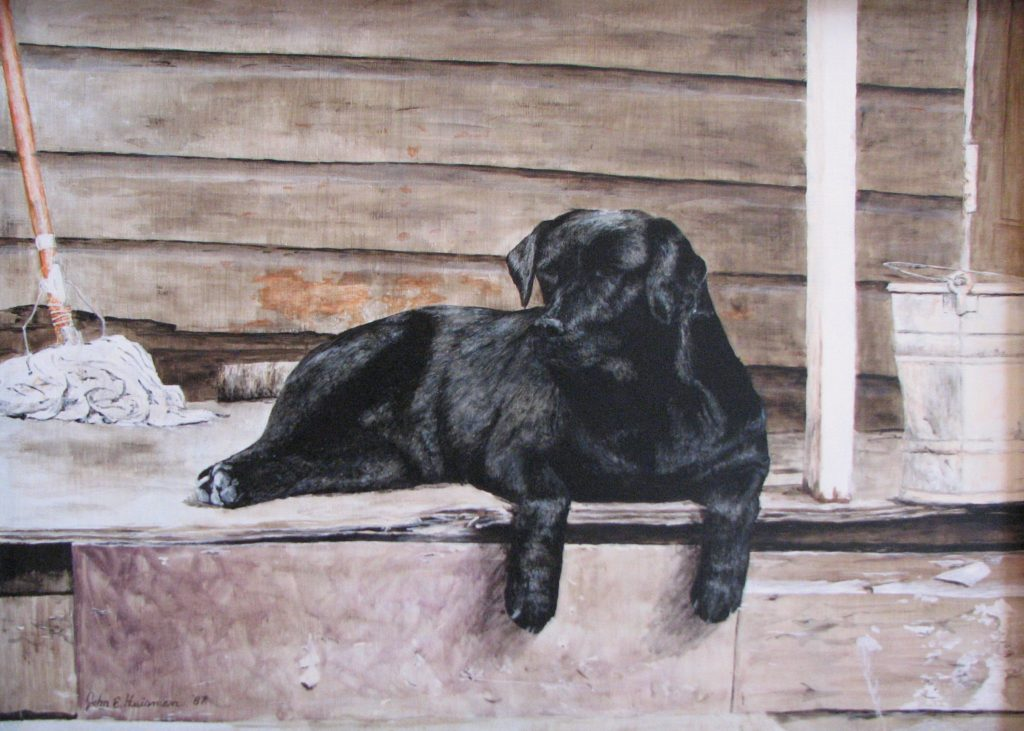 """Lab on porch"", acrylic on canvas"