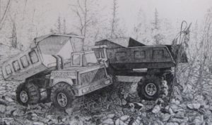 Leftover trucks, pencil on paper, 19x11.5 inches