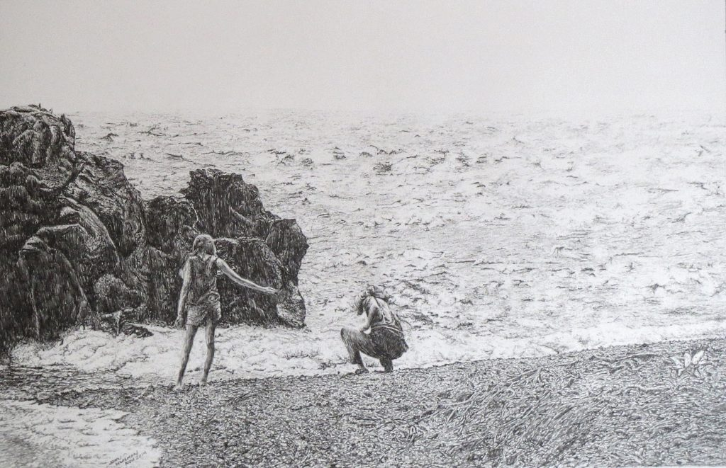 """Searching for Stones, Lake Superior"" 22x14 pencil drawing"