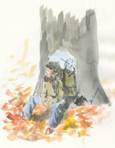 """Resting By a tree"" Watercolor"