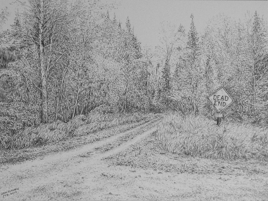 Dead End 12x9 pencil sketch