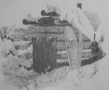 Pencil sketch of Trapper cabin in snow