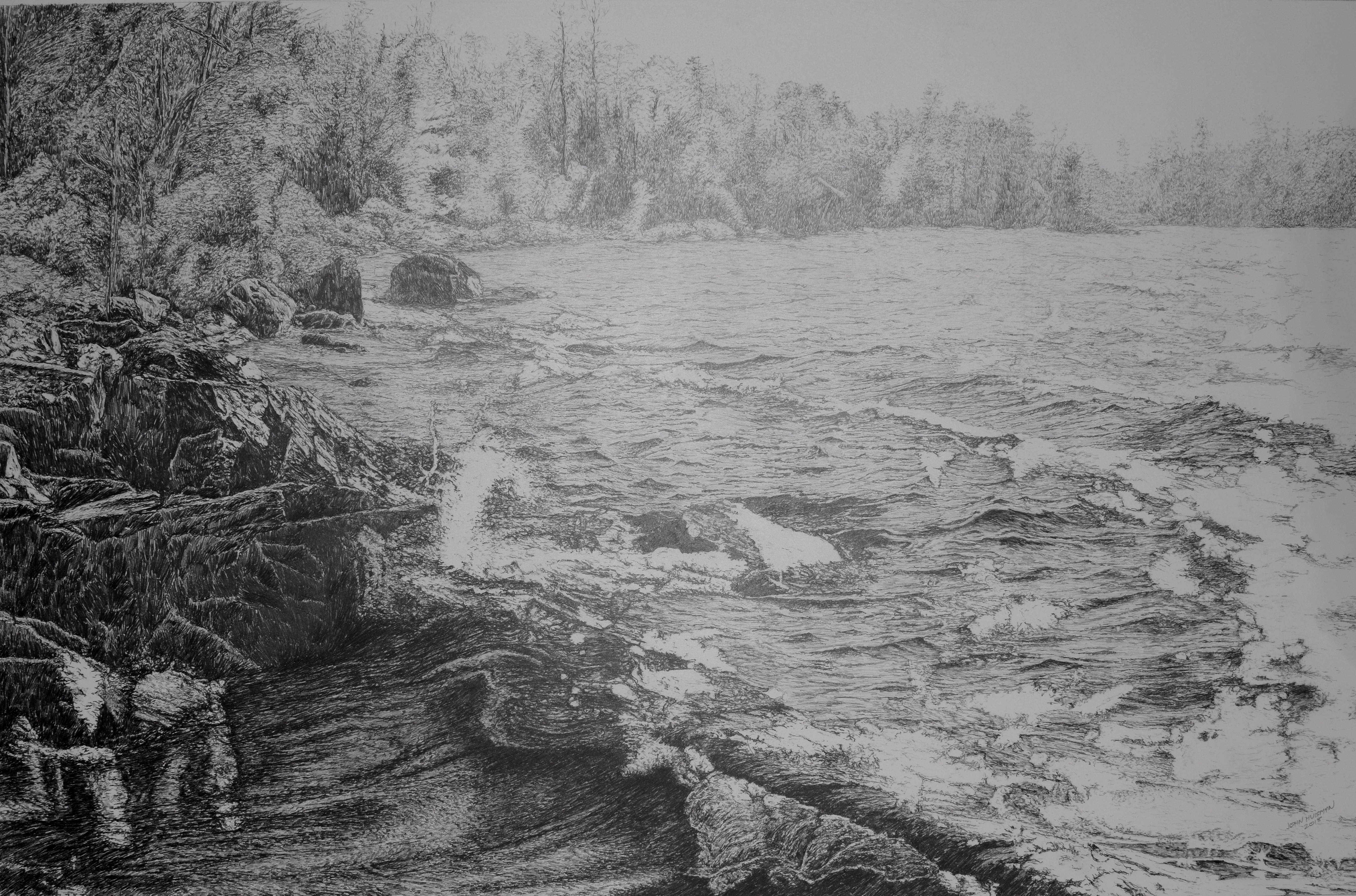 Burntside Shoreline 32x21 pencil drawing