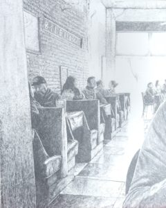 Bilello's Cafe 16x20 Pencil drawing, John E. Huisman